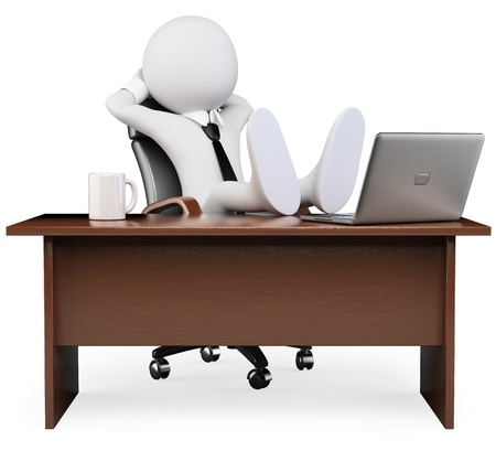 3d white business person resting at the office  3d image  Isolated white background  photo