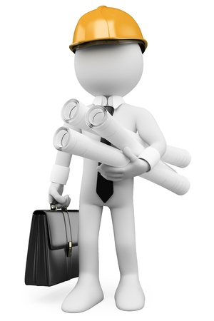 supervisores: Arquitecto 3d blanco con los planes de casco duro y maletín. Imagen en 3D. Aislado fondo blanco. Foto de archivo