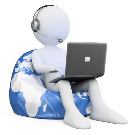 support center: 3d white person sitting on Earth browsing internet with a laptop. 3d image. Isolated white background.  Stock Photo