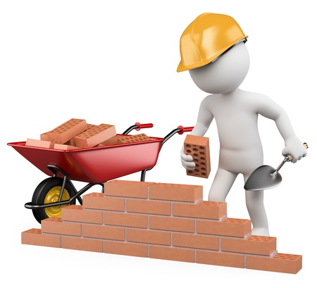 3d witte arbeider bouw van een bakstenen muur. 3d beeld. Geïsoleerde witte achtergrond. Stockfoto