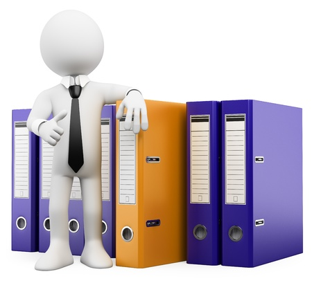 3d white business person look and find the folder he needs. 3d image. Isolated white background.  Stock Photo