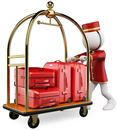 bellman: 3d white bellhop pushing a luggage cart. 3d image. Isolated white background.