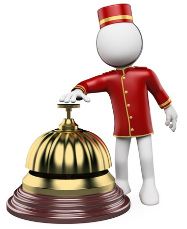attention: 3d white bellhop ringing a hotel reception bell. 3d image. Isolated white background.