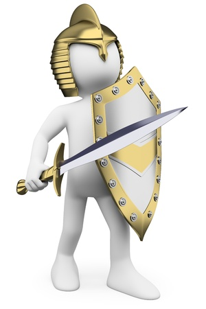 3d white person golden helmet, sword and shield. 3d image. Isolated white background.