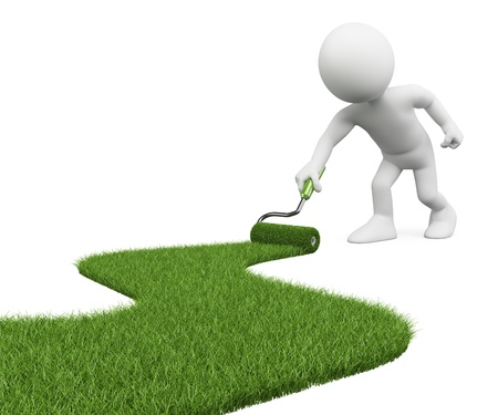 metaphors: 3d white person painting with a roller brush, a grass path. 3d image. Isolated white background. Stock Photo