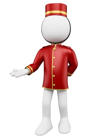 hotel staff: 3d white bellboy welcoming. 3d image. Isolated white background.