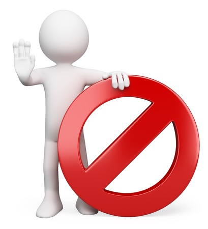proibido: Pessoa branca 3d com um sinal de proibido pedir para parar. Imagem 3D. Isolado fundo branco.