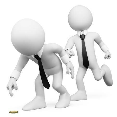 tonto: 3d hombre de negocios blanco engañar a un compañero de trabajo. Imagen en 3D. Aislado fondo blanco. Foto de archivo