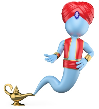 3d white genie out of the lamp. 3d image. Isolated white background. photo