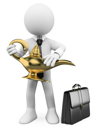 desire: 3d white business person rubbing a magic lamp. 3d image. Isolated white background. Stock Photo