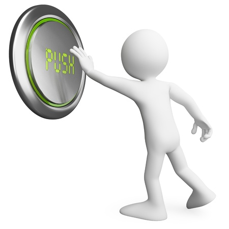 push: 3d white person pushing a huge button. 3d image. Isolated white background.