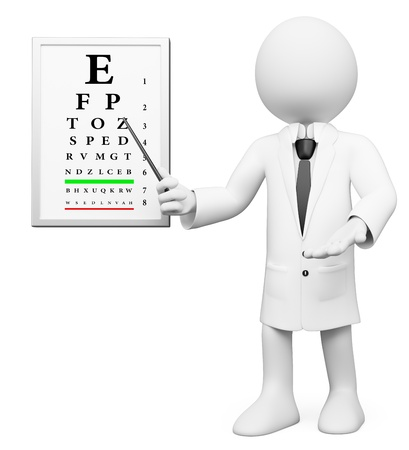 optician: 3d white optician in a medical ophthalmologic checkup. 3d image. Isolated white background.