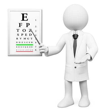 especialistas: �ptico blanco 3d en un chequeo oftalmol�gico m�dico. Imagen en 3D. Aislado fondo blanco.