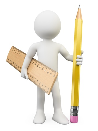 3d white person with a pencil and a ruler. 3d image. Isolated white background.