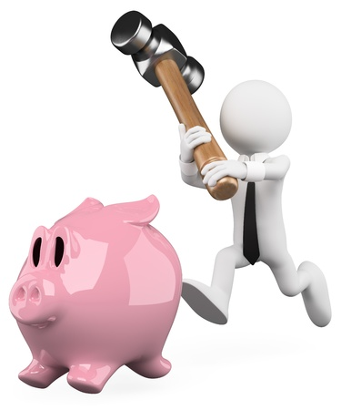 3d white business person chasing a piggy bank with a hammer. 3d image. Isolated white background.