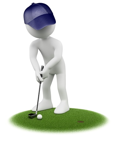 blue man: 3d white golfer putting in golf green. 3d image. Isolated white background. Stock Photo
