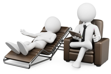 couch: 3d white psychologist with a patient. 3d image. Isolated white background.