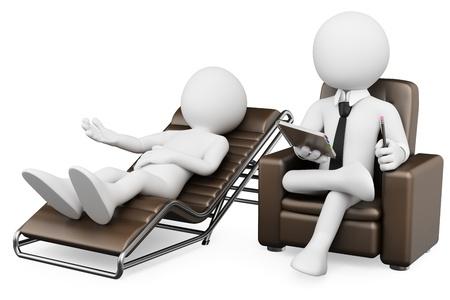 3d witte psycholoog met een patiënt. 3d beeld. Geïsoleerde witte achtergrond. Stockfoto