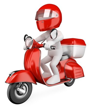3d white courier delivering a package on a scooter. 3d image. Isolated white background. photo
