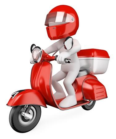 vespa: Courier blanco 3D entrega de un paquete en una moto. Imagen en 3D. Aislados en fondo blanco.