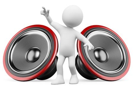3d blanke dansen met het geluid van de luidsprekers. Geïsoleerde witte achtergrond. Stockfoto