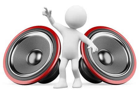 speakers: 3d white person dancing with the sound of the speakers. Isolated white background.