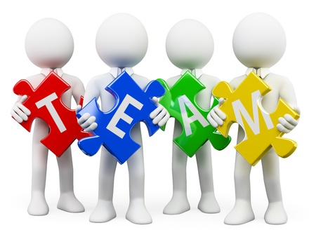 team strategy: 3d white business persons with pieces of puzzle with the word team. Isolated white background.