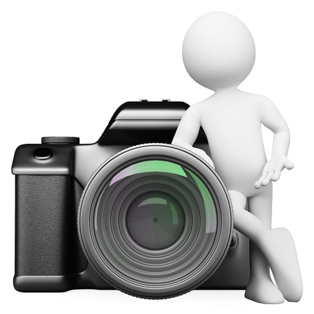 3d white person leaning on a digital camera DSLR. Isolated white background.  photo