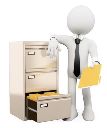 archives: 3d white person sorting and filing folders in a file cabinet. Isolated white background.