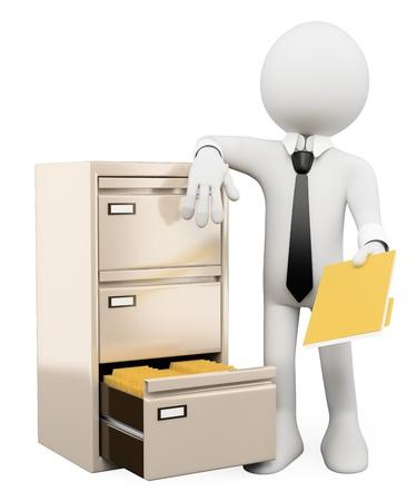 administrativo: Pessoa branca 3d classifica��o e arquivamento de pastas em um arquivo. Isolado fundo branco.