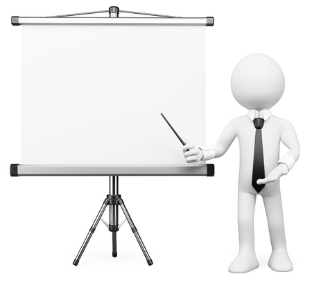 3d white business person showing a projection screen. Isolated white background. photo