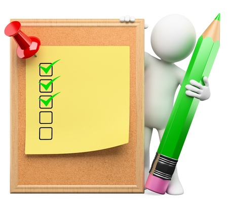 note remember: 3d white person with a cork board, post it with ticks and pushpin. Isolated white background. Stock Photo