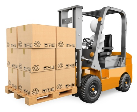 3d white person driving a forklift with boxes in a pallet. Isolated white background.