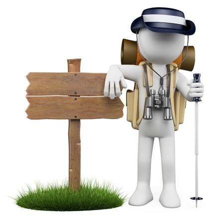 explorer man: 3d white hiker leaning in a wooden sign with rain hat, backpack, stick and binoculars. Isolated white background. Stock Photo