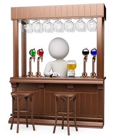 on tap: 3d white waiter in a traditional wood pub with a lager . Isolated white background.