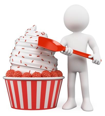 coppa di gelato: 3d persona bianca con un enorme gelato con lamponi. Isolato su sfondo bianco.