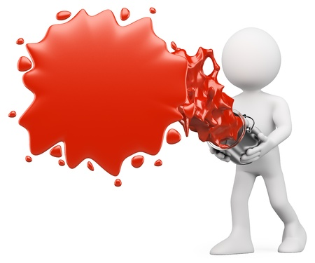 paint splat: 3d white person splashing red paint. Isolated white background.