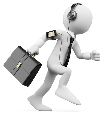 3d white business person rushing to work with briefcase listening music. Isolated white background.