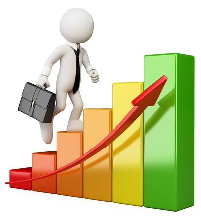 3d white business person climbing a bar graph. Isolated white background.  photo
