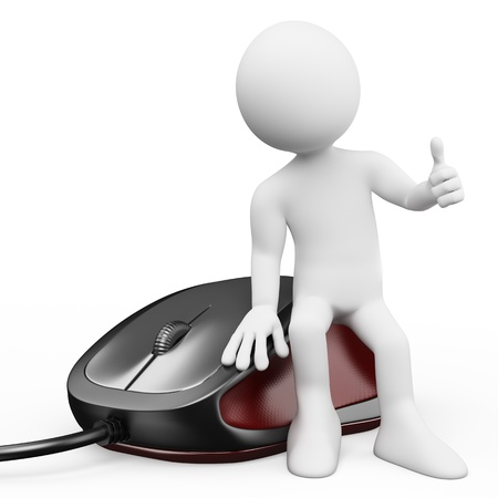 3d white person sitting on a gaming computer mouse. Isolated white background. Stock Photo - 19795828