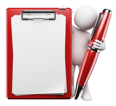 forma: 3d fehér ember egy tollat, vágólapra és üres tér, hogy töltse ki a szöveget. Elszigetelt fehér háttér előtt.