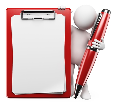 3d white person with a pen, clipboard and blank space to fill with text. Isolated white background. photo
