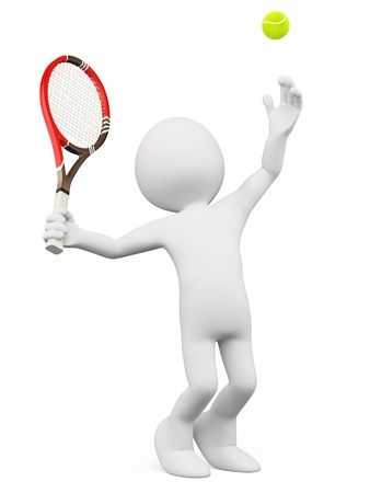 tennis racquet: 3d white person serving in a tennis match. Isolated white background. Stock Photo