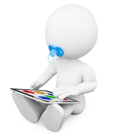 dítě: 3d bílé dítě sedí na podlaze hrát s tabletem. Izolované bílém pozadí. Reklamní fotografie