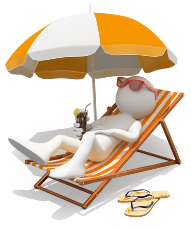 lounger: 3d white person sunbathing on a lounger with a refreshing drink. Isolated white background. Stock Photo