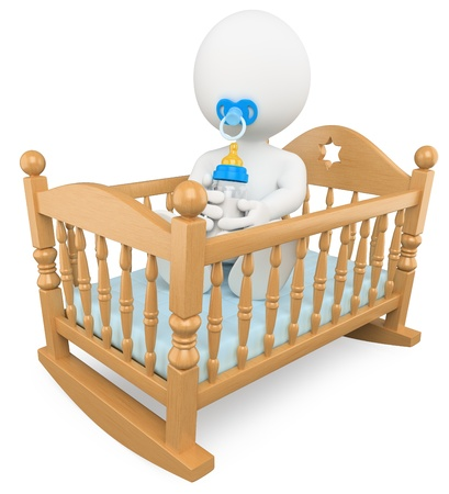 3d white baby in crib with pacifier and baby bottle. Isolated white background.  photo