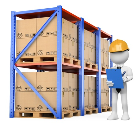 3d white person checking the warehouse. Isolated white background.  Stock Photo
