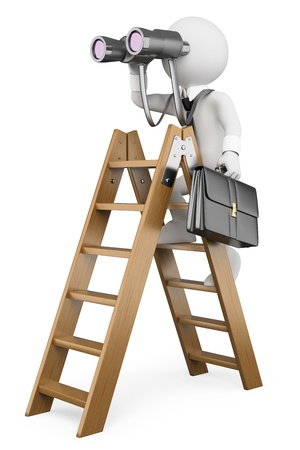 3d white business person on a ladder looking through binoculars. Business vision metaphor. Isolated white background.  photo