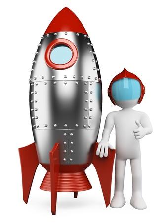 우주선과 엄지 손가락을 3 차원 흰색 복고풍 우주 비행사. 격리 된 흰색 배경. 스톡 콘텐츠