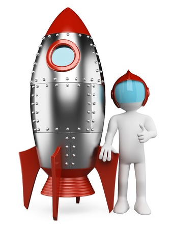 3d white retro astronaut with spaceship and thumb up. Isolated white background.